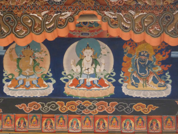 The three deities representing wisdom, compassion, and power, from a temple in Bhutan.