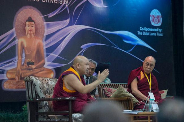 "Geshe Ngawang Sangye presenting his paper on ""Concerning the Chittamatrin View of Emptiness"" at Conference on Quantum Physics and Madhyamaka Philosophical View at Jawaharla Nehru University in New Delhi, India on November 12, 2015. Photo: Tenzin Choejor, OHHDL"